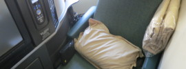 """The """"coffin"""" seat on a Cathay Pacific 747"""